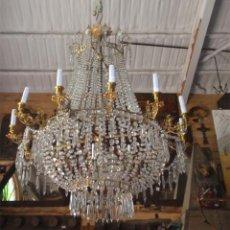 Antigüedades: LAMPARA ANTIGUA DE TECHO, DE VIDRIO Y LATÓN, 12 BRAZOS. MEDIDA 110CM ALTO X 100 CM DIAMETRO. Lote 44465645