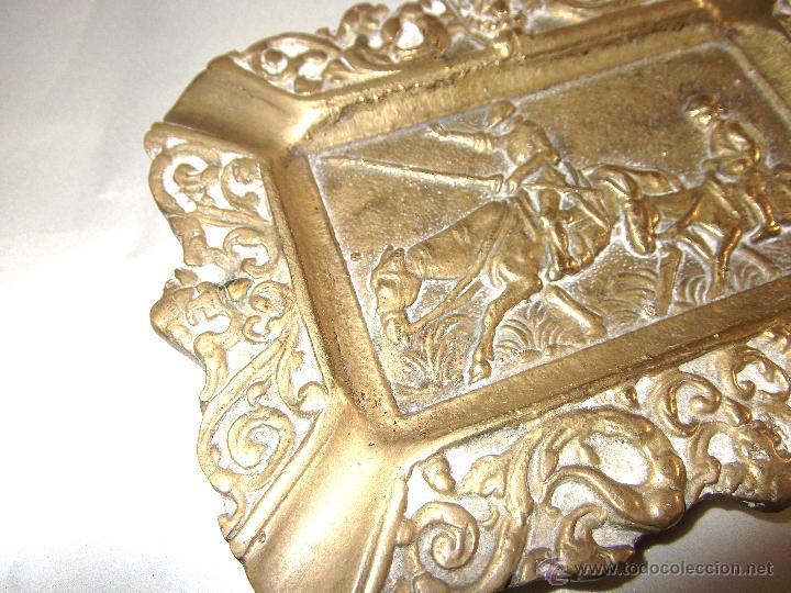 Antigüedades: BONITO CENICERO DE DON QUIJOTE DE LA MANCHA EN BRONCE - Foto 2 - 44513813