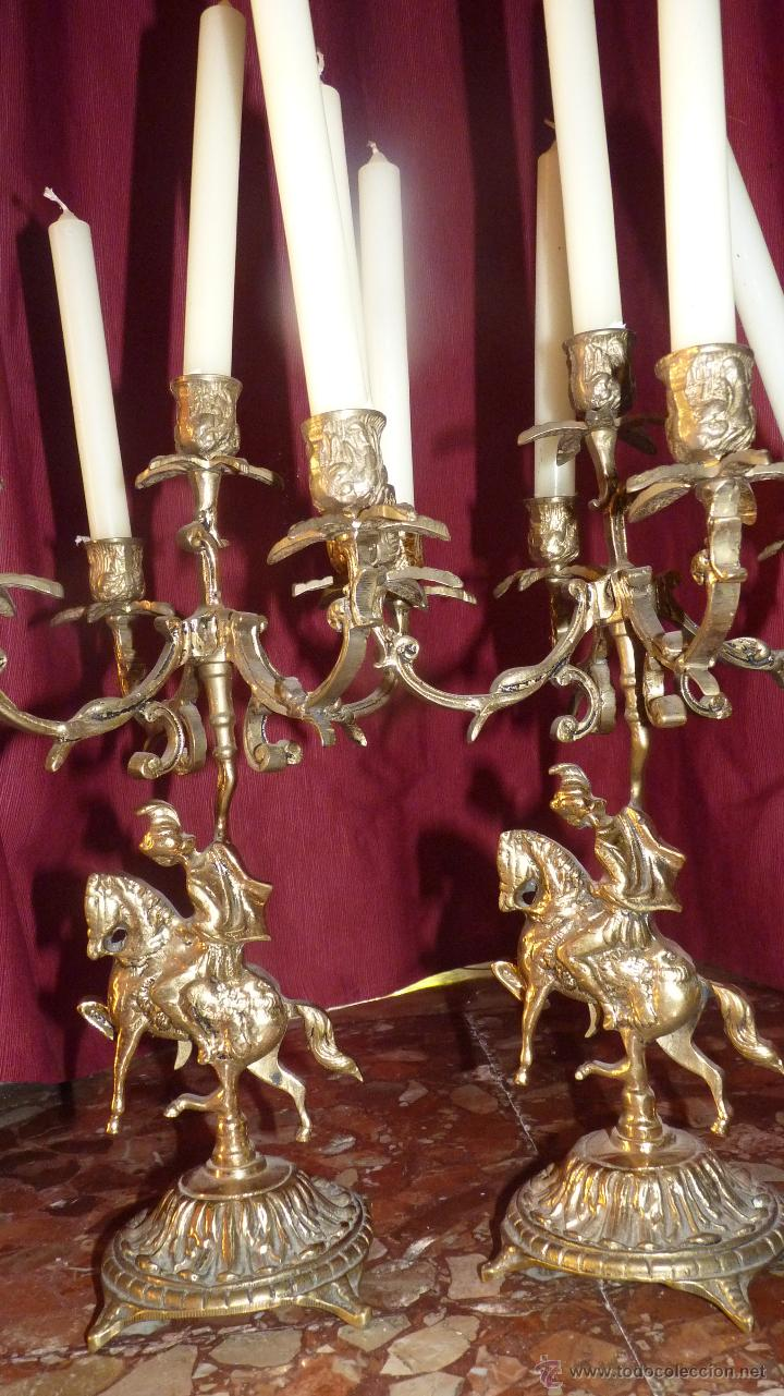 Antigüedades: ESPECTACULAR PAREJA DE CANDELABROS ANTIGUOS EN BRONCE DE CINCO BRAZOS - Foto 5 - 44529623