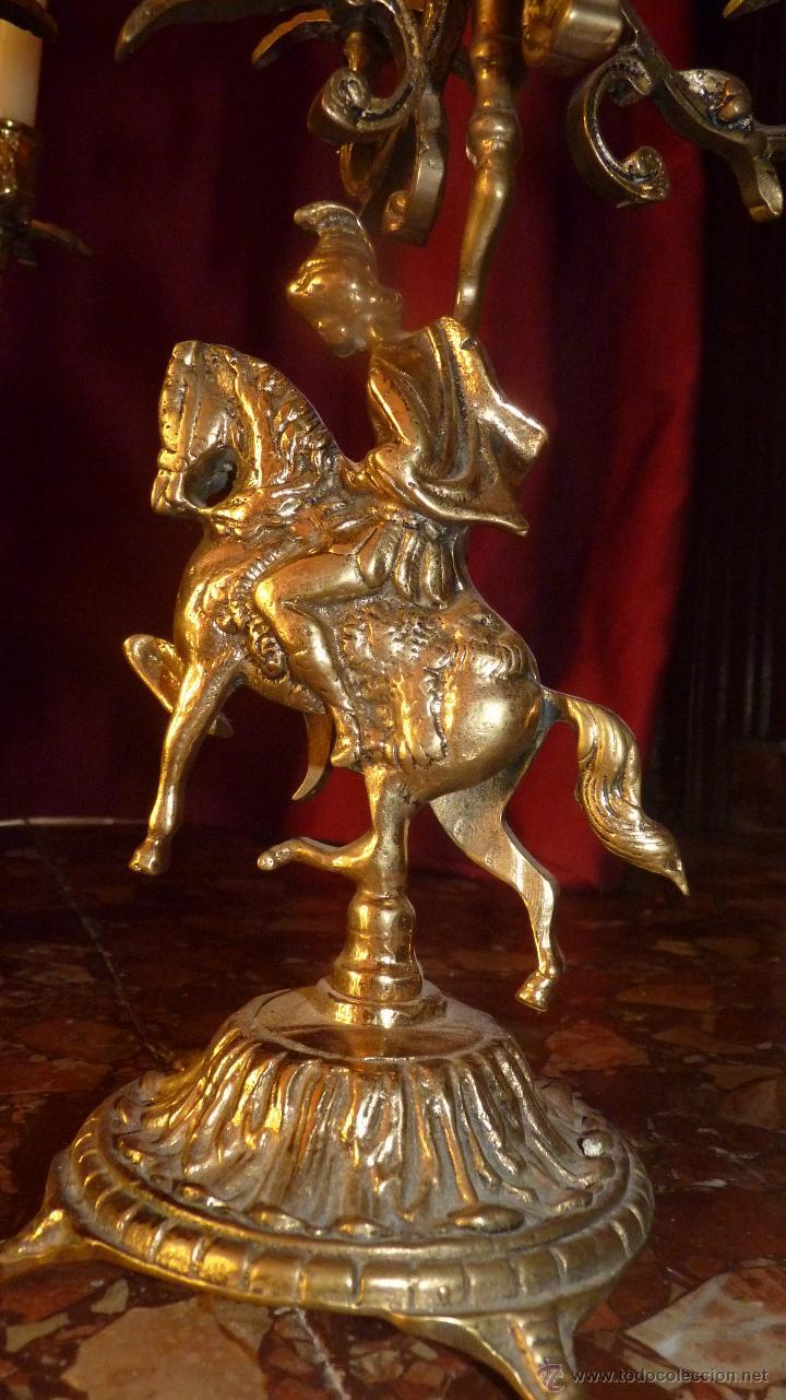 Antigüedades: ESPECTACULAR PAREJA DE CANDELABROS ANTIGUOS EN BRONCE DE CINCO BRAZOS - Foto 9 - 44529623