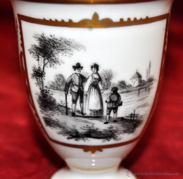 Antigüedades: TAZA EN PORCELANA ALEMANA DEL SIGLO XIX CON MOTIVOS PINTADOS - Foto 4 - 44603583