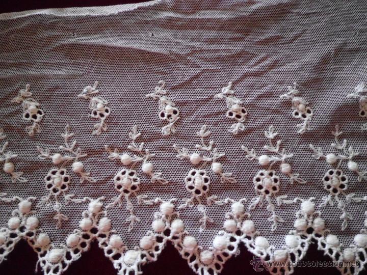 Antigüedades: ANTIGUO encaje de tul bordado - Foto 4 - 44631595