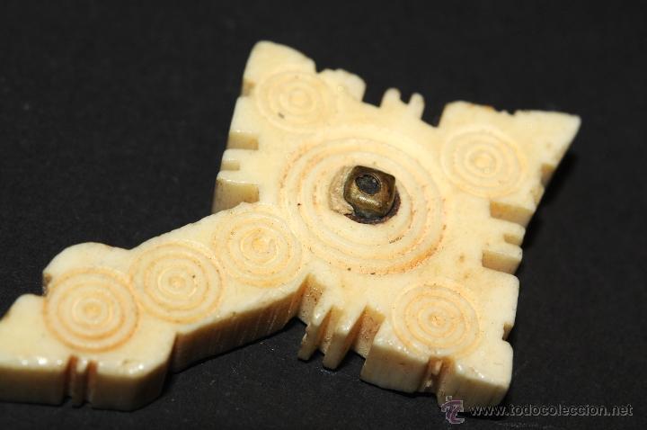 Antigüedades: CRUZ RELICARIO EN HUESO--MARFIL ??? - Foto 4 - 44631633