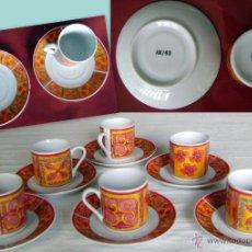 Antigüedades: JUEGO 6 PLATOS+TAZAS CAFÉ LOZA AM 63. VER DESCRIPCIÓN. Lote 44638749