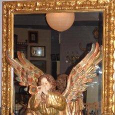 Antigüedades: ESPECTACULAR ESPEJO DE MADERA EN ORO FINO. Lote 44638890