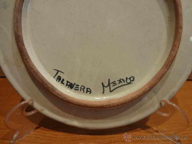 Antigüedades: PLATO DE CERÁMICA DECORADO A MANO Y ESMALTADO. TALAVERA DE PUEBLA. MÉXICO. 25.5 CM Ø. PERFECTO - Foto 2 - 44654857