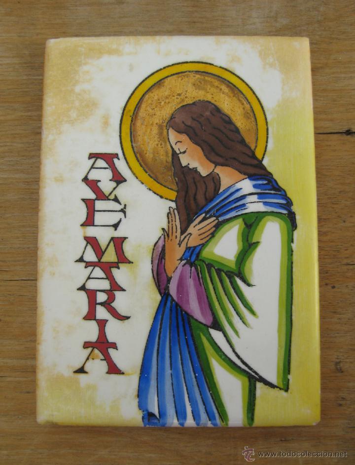 AZULEJO ANTIGUO PINTADO AVE MARIA AZULEJOS CERÁMICA RELIGIOSA (Antigüedades - Porcelanas y Cerámicas - Azulejos)