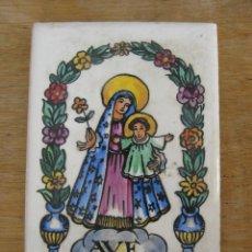 Antiquitäten - AZULEJO DE CERÁMICA ANTIGUO AVE MARIA PINTADO A MANO CON FIRMA - 44680158