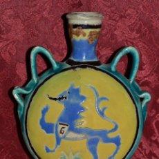 Antigüedades: EXTRAORDINARIA E INUSUAL JARRA,BOTIJA DE CUERDA SECA EN CERAMICA DE TRIANA,(SEVILLA),S. XIX. Lote 44696687