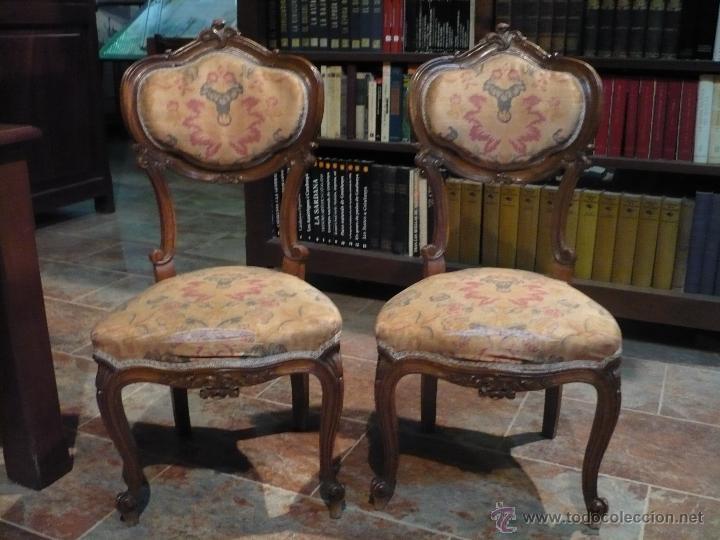Pareja de sillas rococo barrocas profusamente comprar - Tapizado de sillas antiguas ...
