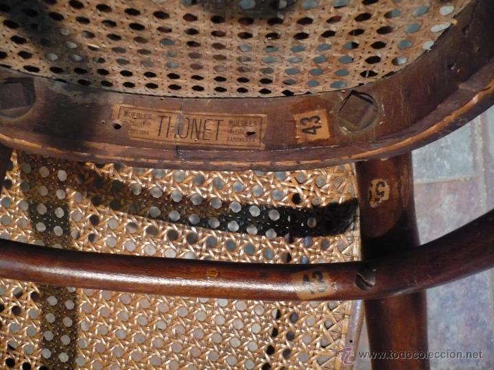 Antigüedades: 4 sillas THONET originales con sello y etiquetas, De Austria. Con la rejilla de 2 a restaurar. - Foto 3 - 44702044