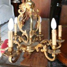 Antigüedades: LAMPARA BRONCE ESTILO LUIS XV. REF. 5740. Lote 44703399
