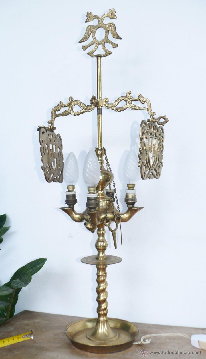 ENORME LAMPARA ANTIGUA ACEITE VELON EN BRONCE S XIX ELECTRIFICADA CORONADA AGUILA BICEFALA (Antigüedades - Iluminación - Lámparas Antiguas)