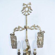 Antigüedades: ENORME LAMPARA ANTIGUA ACEITE VELON EN BRONCE S XIX ELECTRIFICADA CORONADA AGUILA BICEFALA. Lote 44704359