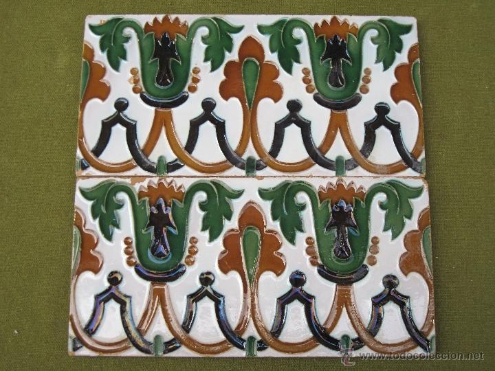 Antigüedades: LOTE DE DOS AZULEJOS ANTIGUOS DE SEVILLA. PPOS.S/XX. HIJO DE J. MENSAQUE. AZULEJO. - Foto 5 - 44725332