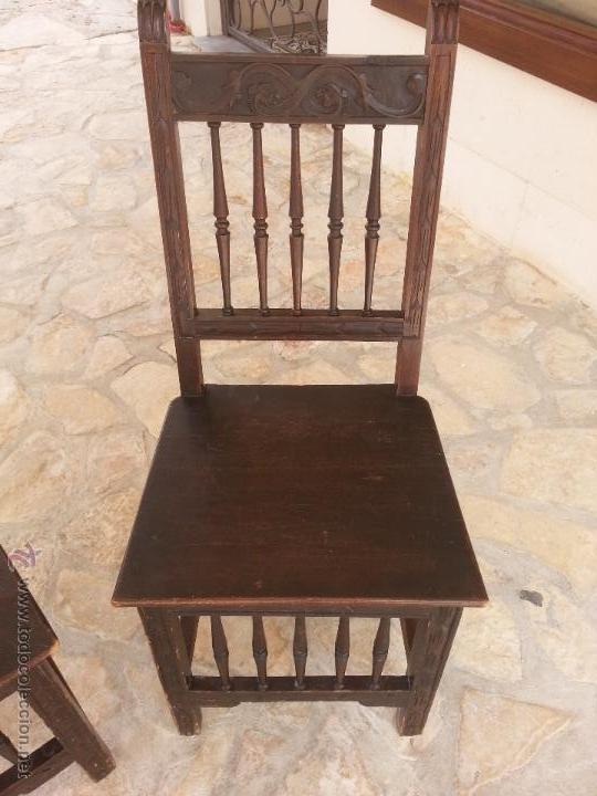Antigüedades: Importante lote de sillas siglo XIX en madera noble. Bonitos bolillos torneados en respaldo y patas. - Foto 2 - 44742253