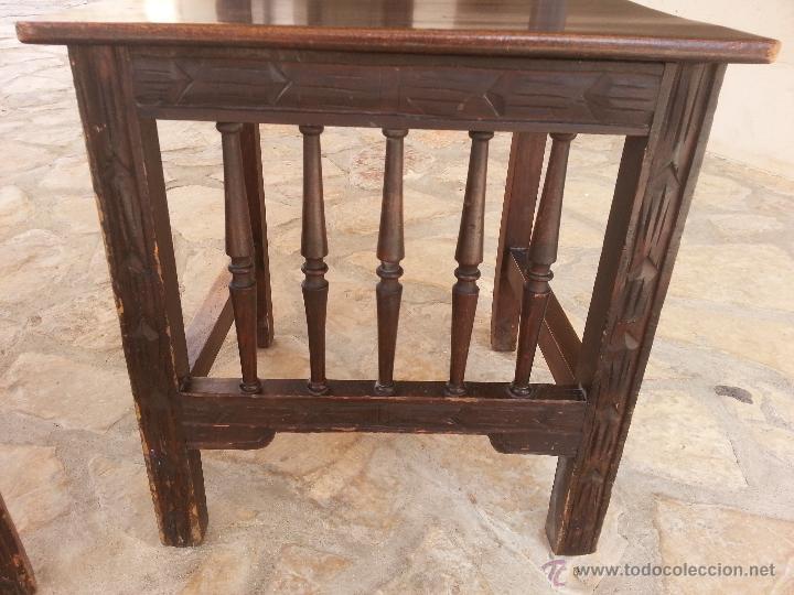 Antigüedades: Importante lote de sillas siglo XIX en madera noble. Bonitos bolillos torneados en respaldo y patas. - Foto 3 - 44742253