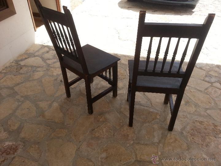 Antigüedades: Importante lote de sillas siglo XIX en madera noble. Bonitos bolillos torneados en respaldo y patas. - Foto 5 - 44742253