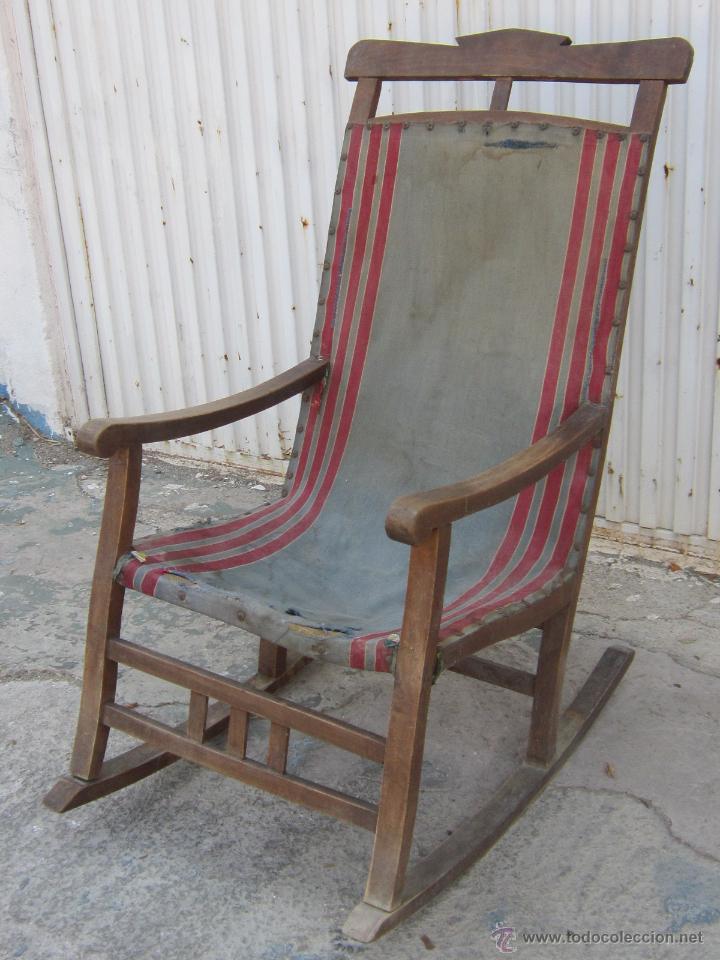 Mecedora antigua de madera con loneta comprar sillones for Mecedora de madera