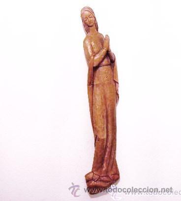 TALLA DE VIRGEN EN MADERA DE 64 CM DE ALTO (Antigüedades - Religiosas - Varios)