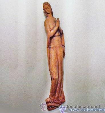 Antigüedades: TALLA DE VIRGEN EN MADERA DE 64 CM DE ALTO - Foto 4 - 32389140