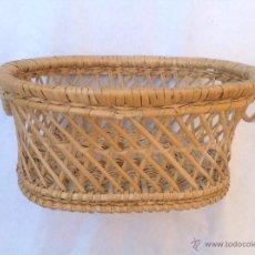 Antigüedades: CESTA DE MIMBRE TEJIDO CON ASAS. Lote 44755265