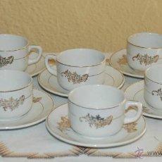 Antigüedades: JUEGO 6 TAZAS DE CAFE LOZA SAN CLAUDIO OVIEDO AÑOS 60. Lote 44756470