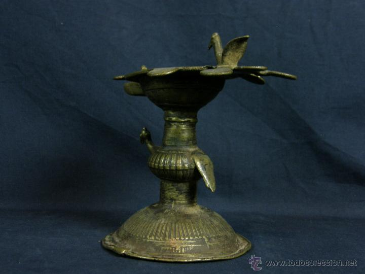 Antigüedades: DEEPAK O DIPAK LÁMPARA ACEITE TRADICIONAL INDIA LATÓN PARA RITUALES DOMÉSTICOS FIESTA DIWALI - Foto 30 - 44757900