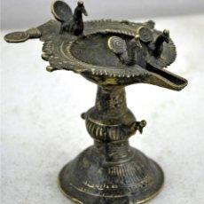 Antigüedades: LAMPARA DE ACEITE CEREMONIAL INDIA Nº 58. Lote 50855433