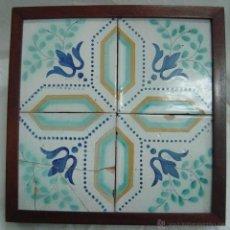 Antigüedades: 4 AZULEJOS ENMARCADOS, SIGLO XIX. Lote 44773270