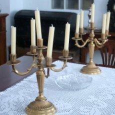 Antigüedades: PAREJA DE CANDELABROS. Lote 44801917