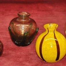 Antigüedades: LOTE DE 6 JARRONES EN VIDRIO VENECIANO SOPLADO DE MEDIADOS DEL SIGLO XX. Lote 44807578