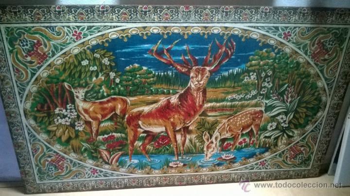 TAPIZ ANTIGUO GRANDE. MUCHO COLOR, ESCENA CAMPESTRE (Antigüedades - Hogar y Decoración - Tapices Antiguos)
