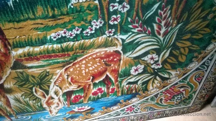 Antigüedades: Tapiz antiguo grande. Mucho color, escena campestre - Foto 2 - 44858064