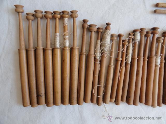 Antigüedades: LOTE DE 46 PALILLOS DE BOLILLOS + 2 PUNTAS. - Foto 2 - 44871739