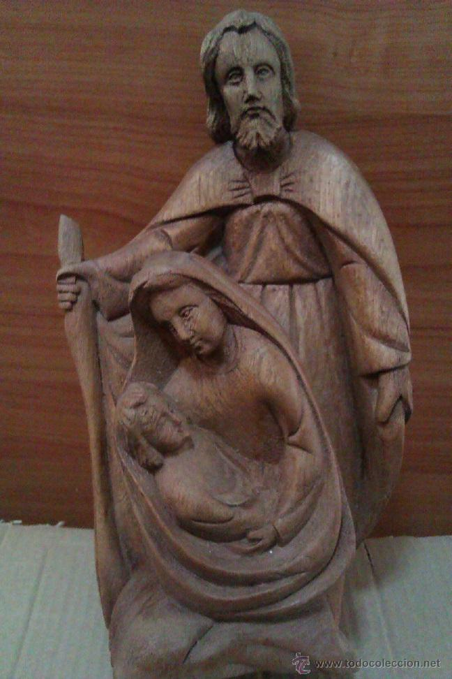 SAGRADA FAMILIA BONITA MUY ANTIGUA TALLA DE MADERA MACIZA FINALES DEL SIGLO XIX SOBRE AÑO 1879 (Antigüedades - Religiosas - Varios)