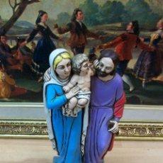 Antigüedades: ESTATUA DE SAN JOSE, VIRGEN MARIA Y ÑIÑO JESUS. Lote 44929065