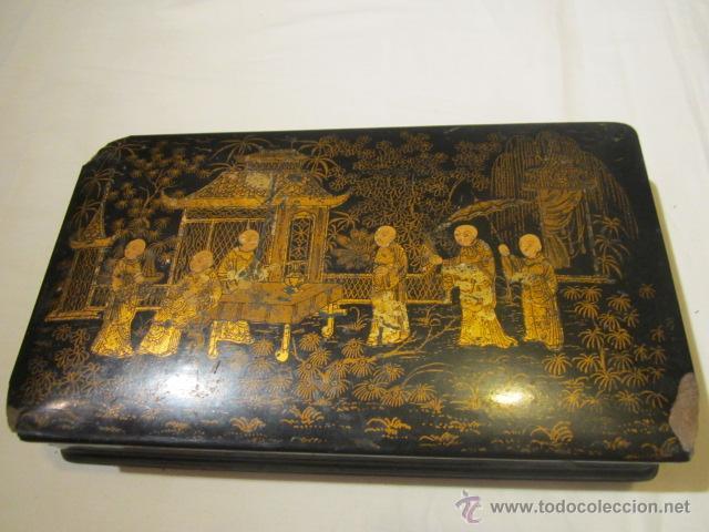 antigua caja de madera china con tapa pintada a mano para restaurar x x cms altura