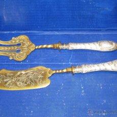 Antigüedades: PLATA Y ORO PRECIOSO SERVICIO MESA CUCHILLO Y TENEDOR. Lote 44934111