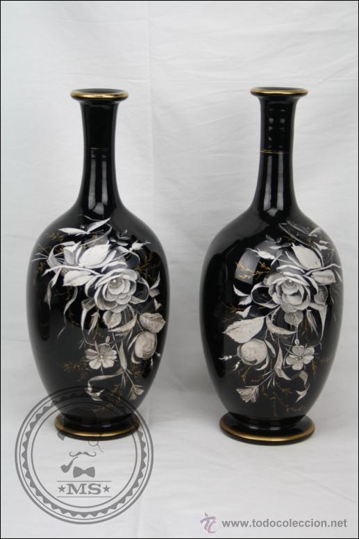 Pareja de jarrones de vidrio negros con decorac comprar for Decoracion hogar jarrones