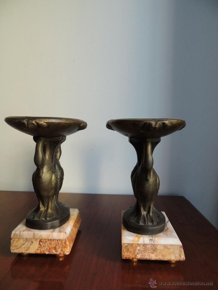 Antigüedades: PAREJA DE COPAS ART DECO DE CALAMINA SOBRE BASE DE MARMOL CON CISNES - Foto 6 - 45059116