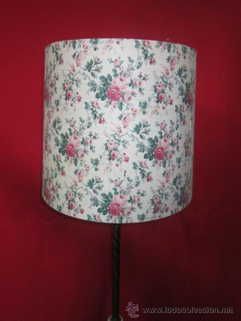 Antigüedades: Lámpara rústica con cerámica. Tulipa de flores. - Foto 2 - 26280781