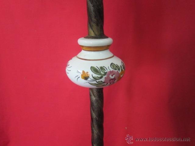 Antigüedades: Lámpara rústica con cerámica. Tulipa de flores. - Foto 5 - 26280781