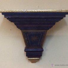 Antigüedades: MÉNSULA DE MADERA, POLICROMADA. (30 X 27 X 30 CM.) VER FOTOGRAFÍAS.. Lote 45066624
