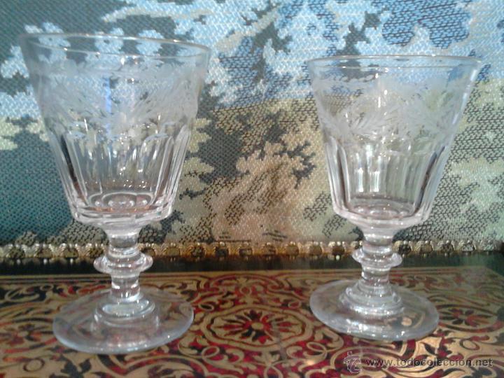 PAREJA DE COPAS EN CRISTAL ESPAÑOL.SEGOVIA SIGLO XIX LA GRANJA (Antigüedades - Cristal y Vidrio - La Granja)