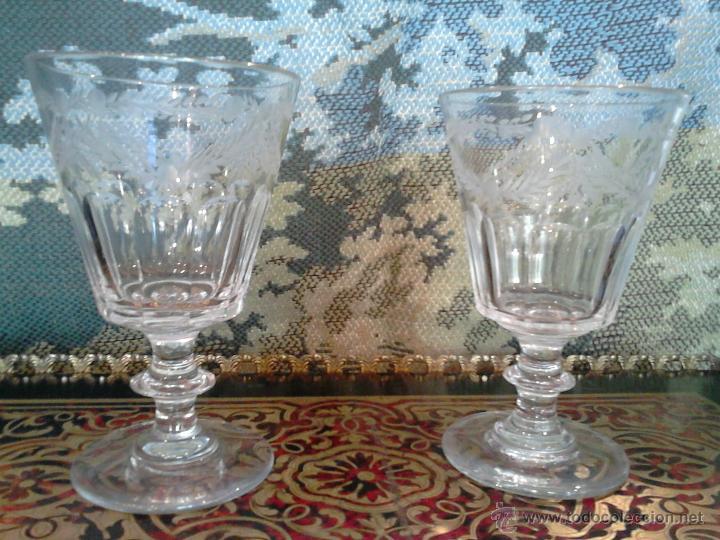 Antigüedades: Pareja de copas en cristal español.Segovia siglo XIX La Granja - Foto 4 - 93112287