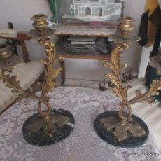 Antigüedades: ANTIGUOS CANDELABROS DE DOS BRAZOS. Lote 107609942