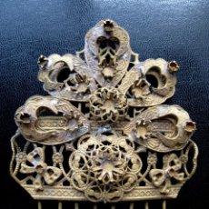 Antigüedades: ESPECTACULAR PEINETA MUY ANTIGUA ÚNICA ARTESANAL FILIGRANA Y ORFEBRERIA INACABADA PEINETAS ADEREZO. Lote 45093526