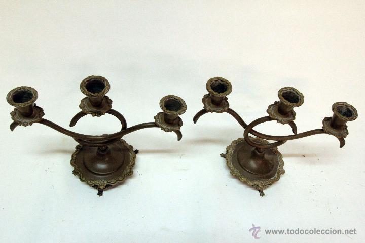 Antigüedades: PAREJA DE CANDELABROS - Foto 4 - 45097112