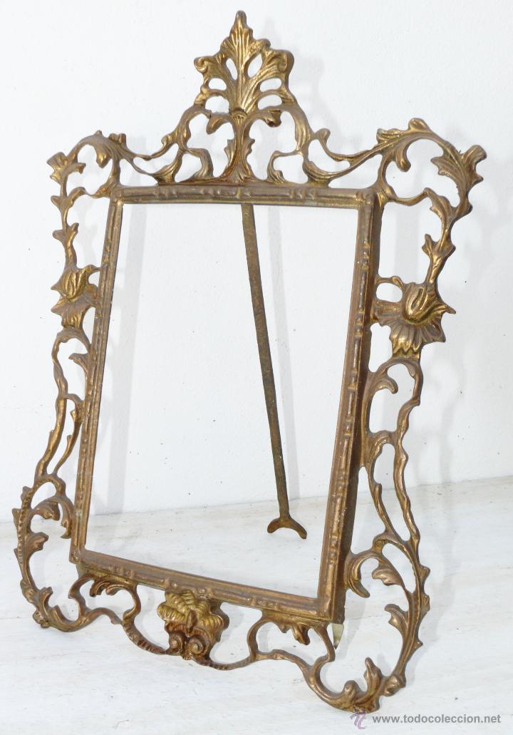 Gran marco espejo o portafotos antiguo en bronc comprar for Espejo marco dorado